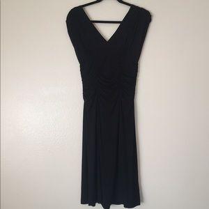 "CAbi Ruched Faux Wrap ""Caviar"" Dress - Medium"